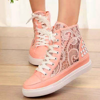 Wholesale Drop Shipping New Fashion Women Sneakers For Brand Wedge Female Ankle Running Shoes Lace Flats sweet Canvas Shoes Woman DHWS1013