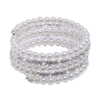 amazing bracelets - Top Selling In Stock Bridal Jewelry Gorgeous Bracelet with Clear Crystals and Big Pearls Amazing Wedding Accessories