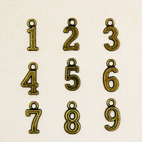 number charms - 500pcs Antique Bronze Alloy Arabic numbers to Charm Pendant Fit Jewelry Making