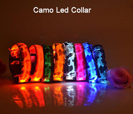 Wholesale 10pcs Promotion Camo Dog LED Collar Pet Glow Collars Flashing Nylon Light Up Satety Collar for dogs Colors Size S M L XL CW0292