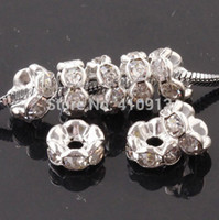 Wholesale Metal Silver Plated Crystal Rhinestone Rondelle Spacer Beads mm mm mm