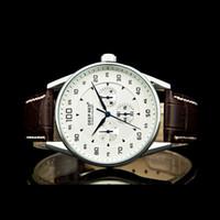 Wholesale Men s Luxury Brand New White Dial Leather Strap Quartz Watch