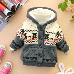Wholesale Hot Sale Winter Baby Coat Printing Cartoon Bear Thicken Children Cotton Coat Add Wool Warm Fit Age Kids Clothes Outwear WD209