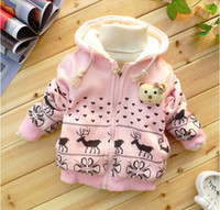 Wholesale Christmas Winter Girl Coat Cartoon Fawn Baby Cotton Coat Thicken Lambs Wool Warm Bear Head Children Coats Fit Age Kids Outwear WD210