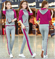 Wholesale 2014 Autumn Clothes Women Girl Tracksuits Sport suits Casual Slinky Yoga wear Panelled Sweat suits with Zipper and Hood No pilling