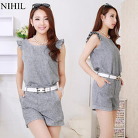 Cheap New 2014 Women Shorts & Tops Suits For Women Fashion Clothing set Sleeveless Denim Shirts + Pants Casual Clothes