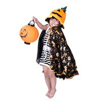 Cheap Halloween Costume Masquerade Children Clothes Props Pumpkin Cape Cloak Pumpkin Bucket Pumpkin Hat Lanterns
