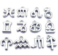 al por mayor signo del zodiaco venden al por mayor-Venta por mayor - 15mm superior calidad plata tono aleación Zodiac encantos del Zodiaco signos DIY niños religiosos joyas accesorios envío gratis 120pcs/lot