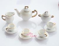 Wholesale Dollhouse Miniature White porcelain China Coffee Tea Lid Pot Cups Set