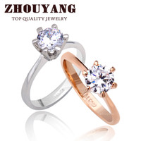 Wholesale ZYR014 K Real Gold Plated Six Claw CZ Diamond Round Cut mm Wedding Ring Austrian Crystals For Women