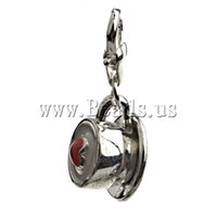 Wholesale emamel coffee cup clip on charms Fit link bracelet