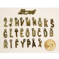 antique c - 500pcs Antique Bronze Zine Alloy Alphabet Letter Word A B C D E F G H I Charm Pendant Fit Jewelry Making