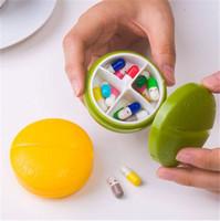 Cheap 4PCS Lot Compartment Travel Round Pill Box Organizer Tablet Medicine Storage Dispenser Holder Free Shipping
