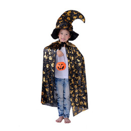 Wholesale Halloween Costume Masquerade Children Clothes Props Pumpkin Cape Cloak Cloak Pumpkin Bucket