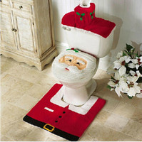 Wholesale Top rated Christmas bath set santa toilet seat covers seat cover rug tank cover bathroom accessories set