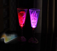 Wholesale Halloween Skull Ghost Hand LED Flash Champagne Cup Colorful Changed Light Up Cups For Bar Party Table Ornaments Decorations