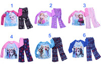 Wholesale 2014 new sets Children kids girls boys Frozen pajamas set with cotton T shirt fleece pants years