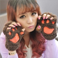 Wholesale 6 Colors Winter Gloves New Women Cute Cartoon Claws Wacky Half Finger Protective Gloves PS DHL