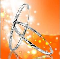 Wholesale 925 Sterling Silver Hoop Earrings Exaggerate Hoop Earrings Argyle Design Fashion Beauty Prism Type Anti allergy Hoop Earrings
