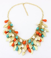 Wholesale 2014 Influx of Women Newest Handmade Plastic beads leaves Statement Big Fashion chain braid Necklaces