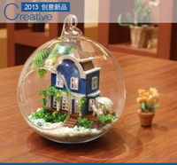 Wholesale new DIY wooden doll house toy assembling model Glass Ball dollhouse Wedding Christmas Gift Love Aegean Sea