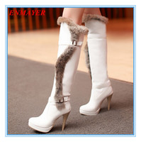 Wholesale ENMAYER new2015 Fashion Round toe Thin Heels girl boots for women Shoes Winter boots Feathers platform snow Knee High boots