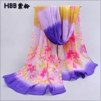 Wholesale Long chiffon Silk Scarf PC cm Floral element daisy flower print scarf WJ