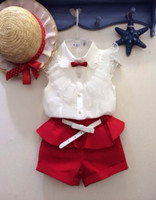 Summer girls white shirts - Girls Lace Collar White Shirt Bow Red Hot Pants With Belt PC Summer Set Christmas Suit
