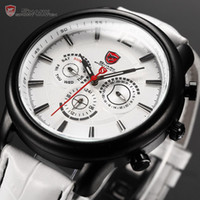 Wholesale Genuine Shark Hands Date Day Relojes Black Stainless Steel Case Leather Band White Dial Wrist Sport Men s Quartz Watch SH113