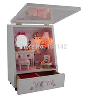 doll house - Y001 DIY Music Box Jewelry Box boutique led light doll house dollhouse miniature lighting