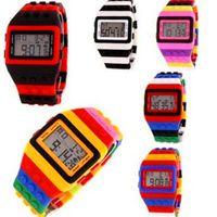 wristwatch - Rainbow Multicolor Bricks LED Wristwatch SHHORS Fashion Rubber Digital Sports Week Night Light Waterproof Plastic Jelly Candy Watches