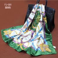 Wholesale 1PC cm Europe hot style bucket printed square satin silk scarf WJ