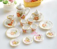 Wholesale Dollhouse Miniature porcelain China Coffee Tea Lid Pot Cups Set DC127