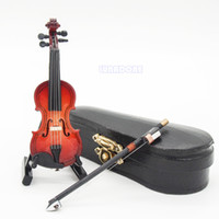 Wholesale 1 Violin Wooden Miniature Music Musical Instrument With Case Holder Gift New Instrumentos Musicais Decoration