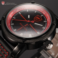 Cheap Solar Shark Series Stainless Steel Case Black Red Luminescent Dial Japan Quartz Movement Analog Leather Men Sport Watch SH138