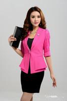 Wholesale 2014 Summer Women Business Suits Formal Office Suits Work Slim Women Work Wear Skirt Suit Women Formal Blazer