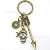 Wholesale Factory direct creative retro skull alloy keychain key ring key chain yuan shop gift