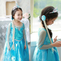 Cheap Hot sale Girls Frozen Princess Anna Elsa Cosplay Costume Kid's Party Dress Dresses SZ7-8Y