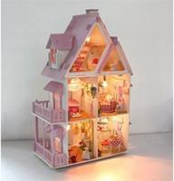 Wholesale Sunshine Alice Doll House Assemble Villa Doll Home Wood Children Mini Wooden Toy Miniature Dollhouse
