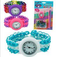 Casual Unisex Quartz-Battery Fashion DIY Kids Kit Rubber bands Bracelet waistwatch Set Kids Toys Shipping loom watch for Christams Halloween Cheap