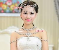 Cheap Wedding Bridal Women Girls Charm Crystal Rhinestone Flowers Tennis Long Full Body Shoulder Chain Tassel Pendant Beaded Necklace Jewelry Set