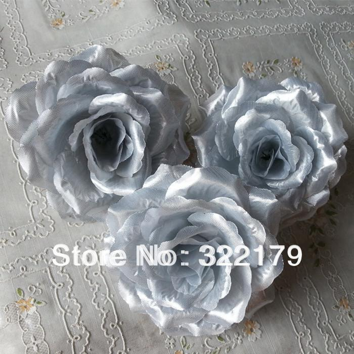Wholesale 100x silver silk roses artificial flower heads 10cm bulk wholesale 100x silver silk roses artificial flower heads 10cm bulk kissing ball flowers pomander diy for mightylinksfo