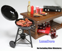 Wholesale 1 Black Iron BBQ Grill Miniature Garden Outdoor Dollhouse For Orcara Re ment