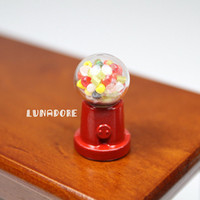 vending machine - Glass Candy Gum Gumball Vending Machine Dollhouse Miniature For Re ment Orcara Miniature Toys Dolls Accessories