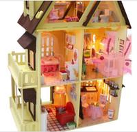 Wholesale DIY doll house model handmade lamp home furnishing furniture creative wood house top villa large model gift gift