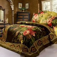 Cheap OP023 oil painting 4pc bedding set king queen size 3D Duvet Quilt cover Luxury bed linen bedspread bed sheet sets 100 Cotton