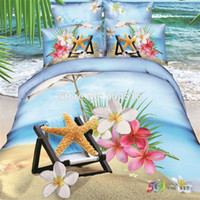 Cheap starfish beach 3d oil print bedding sets queen size bedspread 100% cotton 800TC comforter quilt duvet cover sheet bed in a bag