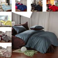 Wholesale King Queen size solid color bedding set TC cotton Fabric bedclothes comforter quilt duvet cover sheet pillowcase pc bed sets