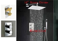 Wholesale New Brass Chrome Rain Shower Faucet unleaded Ultra thin quot Panel Thermostatic Bath Shower Mixer set Years Warranty for xmas