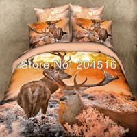 Cheap The deer bedding set queen size 3d bedclothes 100% cotton bedcover comforter quilt duvet cover bedsheet pillowcases animal print